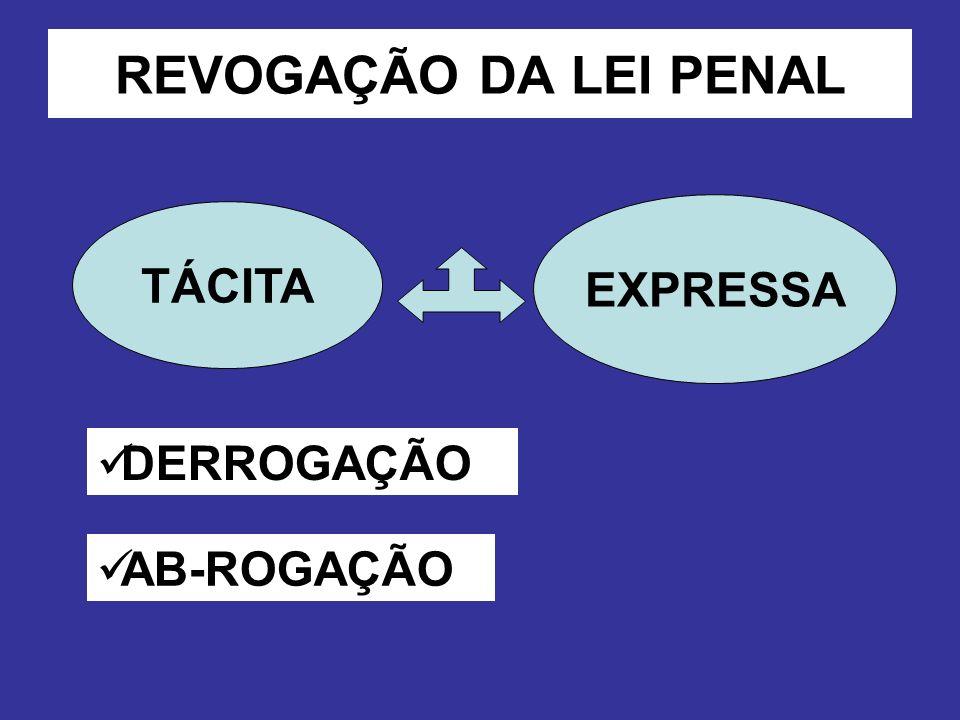 REVOGAÇÃO DA LEI PENAL TÁCITA EXPRESSA DERROGAÇÃO AB-ROGAÇÃO