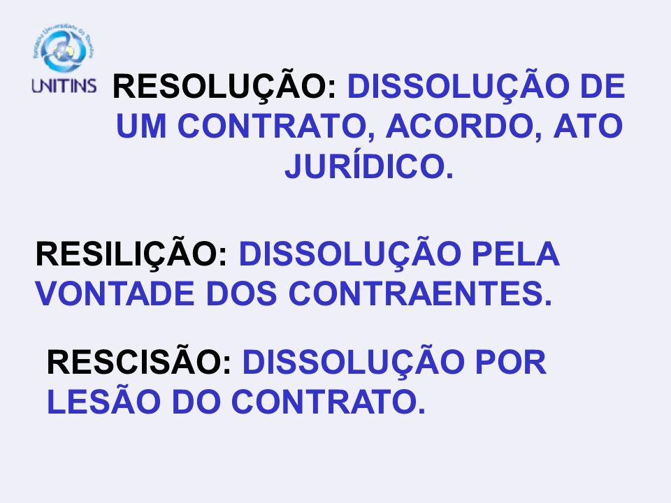 RESOLUÇÃO: DISSOLUÇÃO DE UM CONTRATO, ACORDO, ATO JURÍDICO. RESILIÇÃO: DISSOLUÇÃO PELA VONTADE DOS CONTRAENTES. RESCISÃO: DISSOLUÇÃO POR LESÃO DO CONT