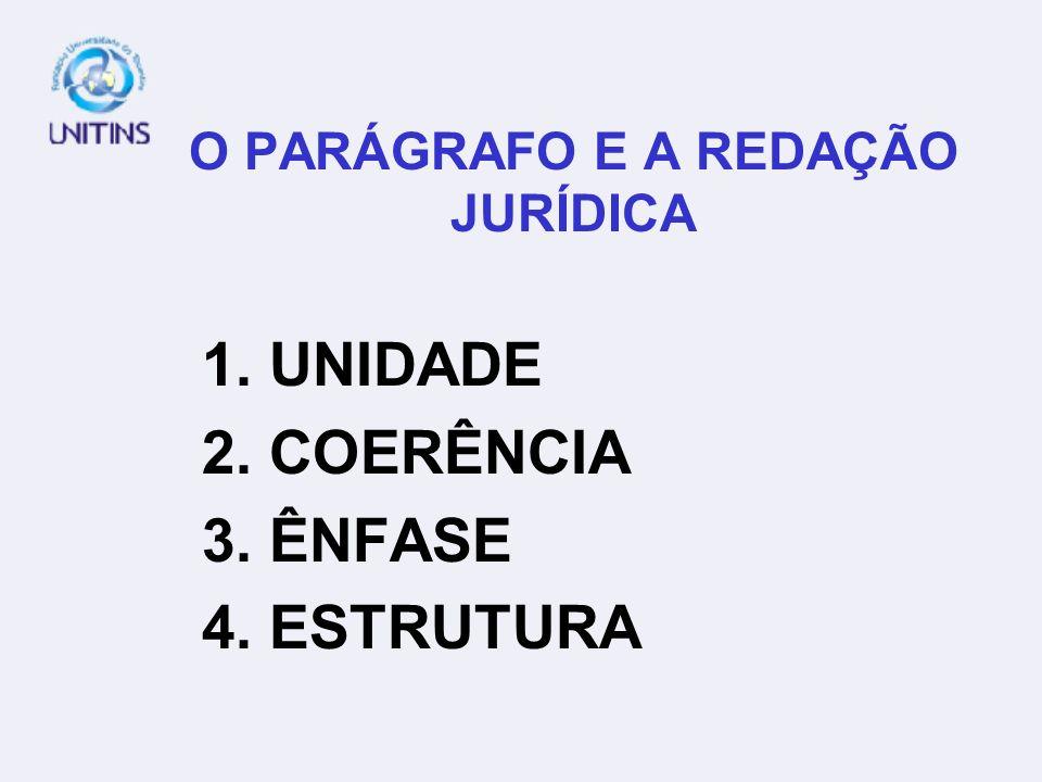O PARÁGRAFO E A REDAÇÃO JURÍDICA 1. UNIDADE 2. COERÊNCIA 3. ÊNFASE 4. ESTRUTURA