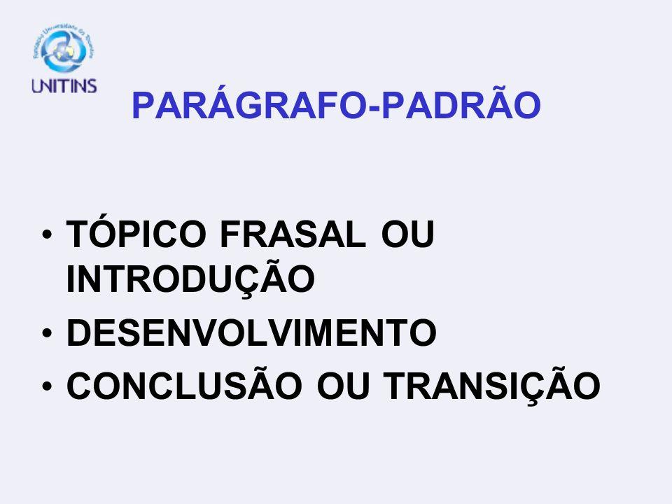 PARÁGRAFO-PADRÃO TÓPICO FRASAL OU INTRODUÇÃO DESENVOLVIMENTO CONCLUSÃO OU TRANSIÇÃO