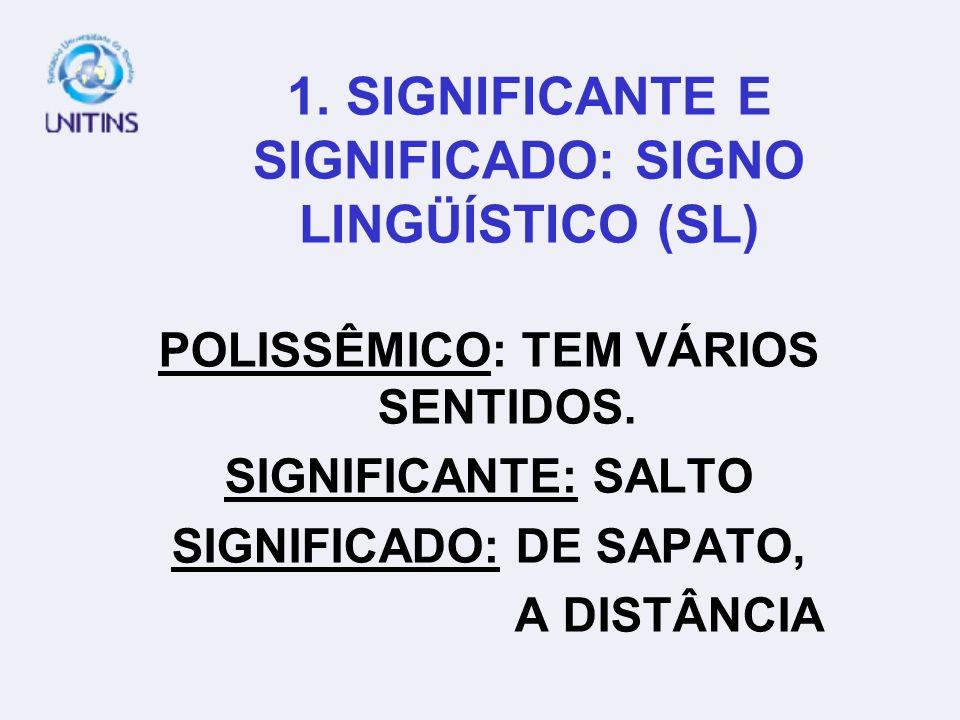 1. SIGNIFICANTE E SIGNIFICADO: SIGNO LINGÜÍSTICO (SL) POLISSÊMICO: TEM VÁRIOS SENTIDOS. SIGNIFICANTE: SALTO SIGNIFICADO: DE SAPATO, A DISTÂNCIA