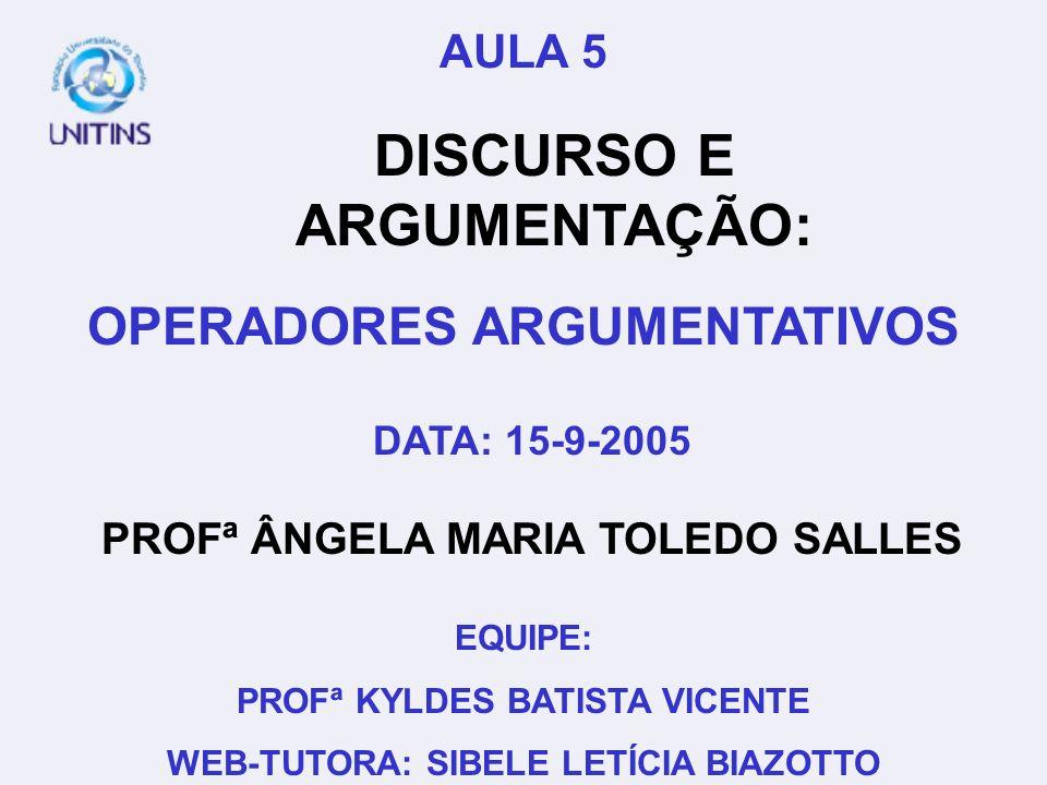 PROFª ÂNGELA MARIA TOLEDO SALLES DATA: 15-9-2005 EQUIPE: PROFª KYLDES BATISTA VICENTE WEB-TUTORA: SIBELE LETÍCIA BIAZOTTO AULA 5 DISCURSO E ARGUMENTAÇ