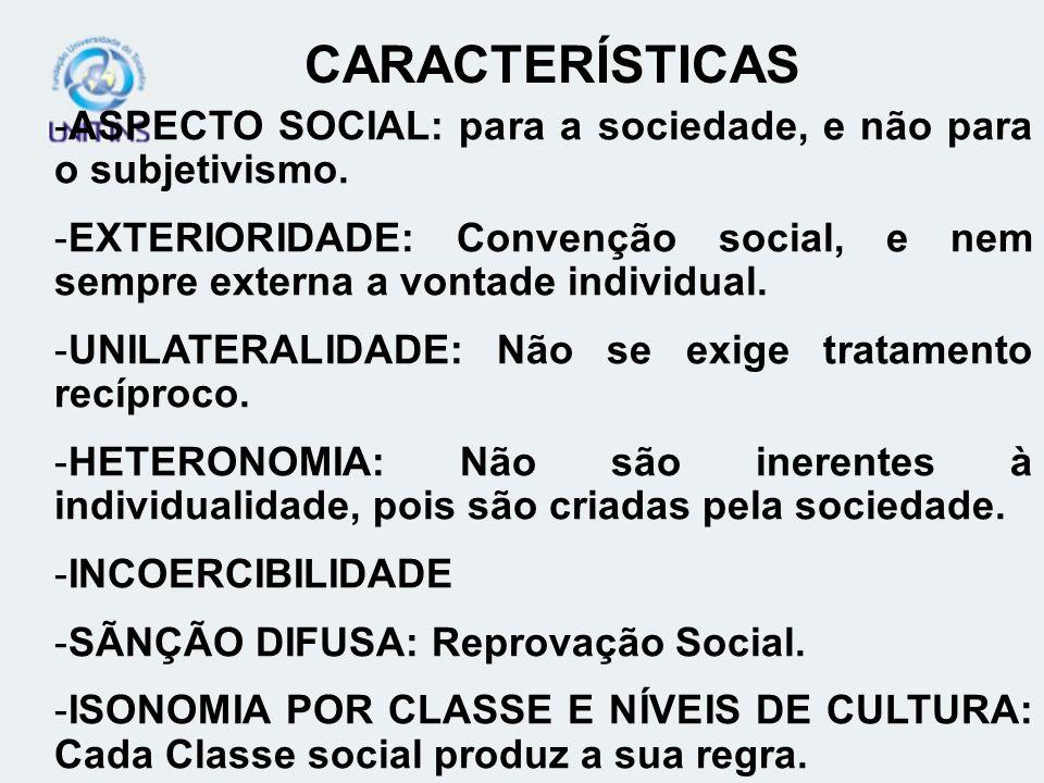-ASPECTO SOCIAL: para a sociedade, e não para o subjetivismo. -EXTERIORIDADE: Convenção social, e nem sempre externa a vontade individual. -UNILATERAL