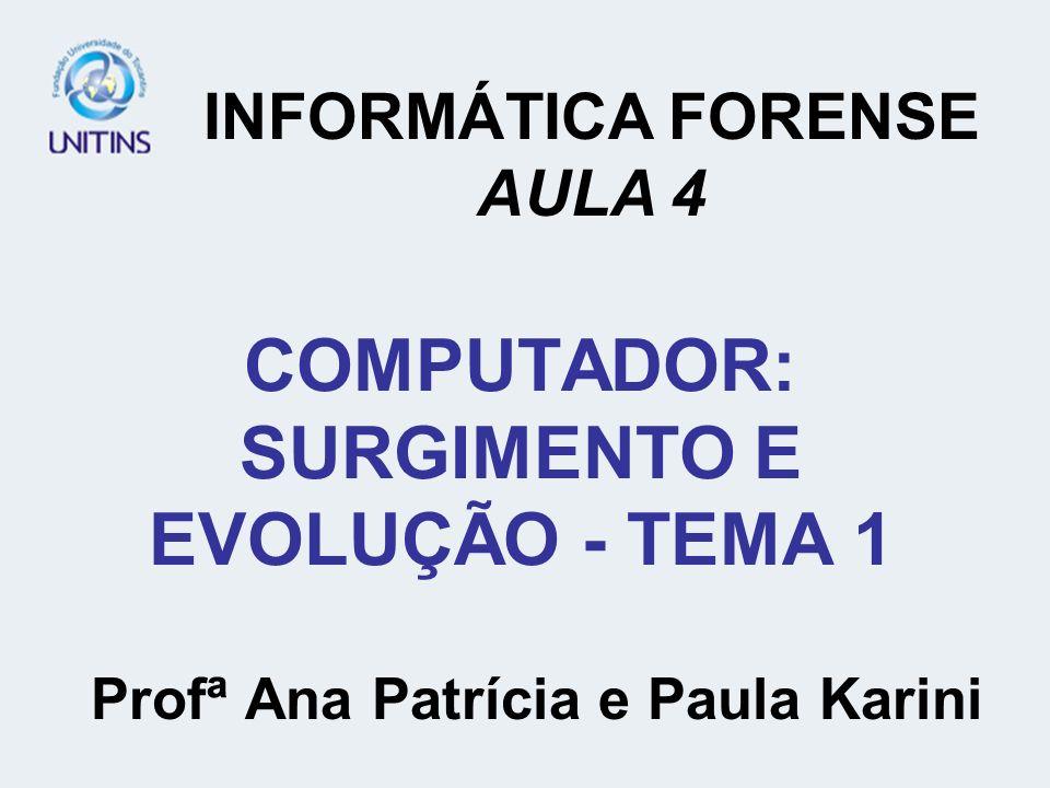 COMPUTADOR: SURGIMENTO E EVOLUÇÃO - TEMA 1 Profª Ana Patrícia e Paula Karini INFORMÁTICA FORENSE AULA 4