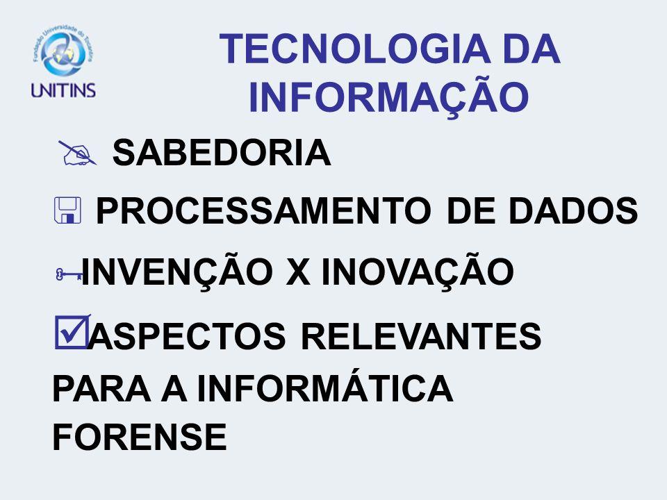 TECNOLOGIA DA INFORMAÇÃO SABEDORIA SABEDORIA PROCESSAMENTO DE DADOS PROCESSAMENTO DE DADOS INVENÇÃO X INOVAÇÃO INVENÇÃO X INOVAÇÃO ASPECTOS RELEVANTES