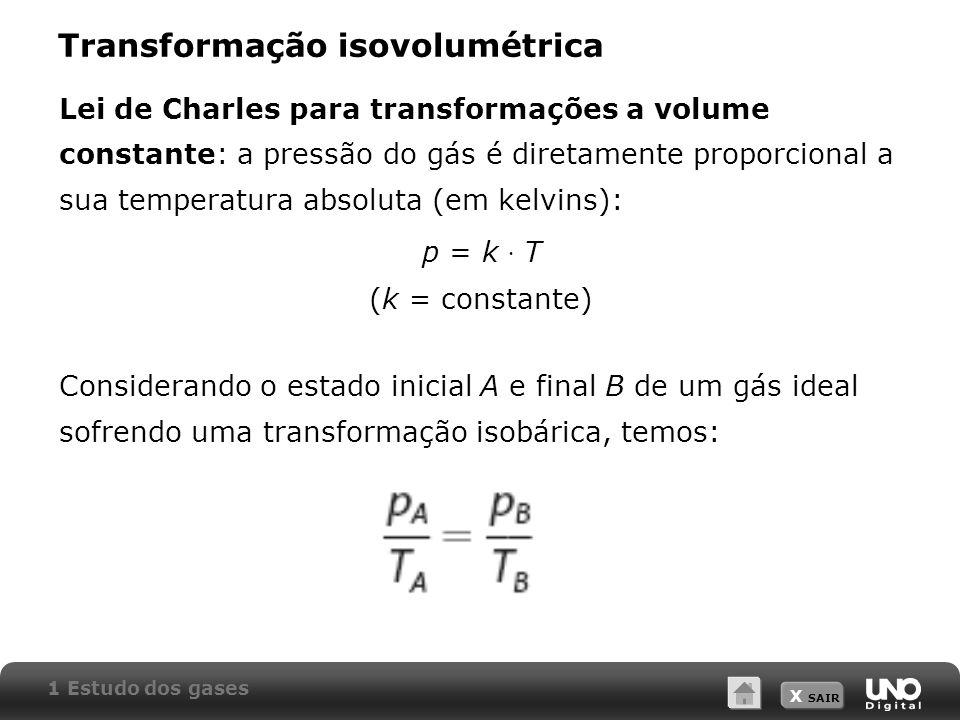 X SAIR Transformação isovolumétrica Lei de Charles para transformações a volume constante: a pressão do gás é diretamente proporcional a sua temperatu