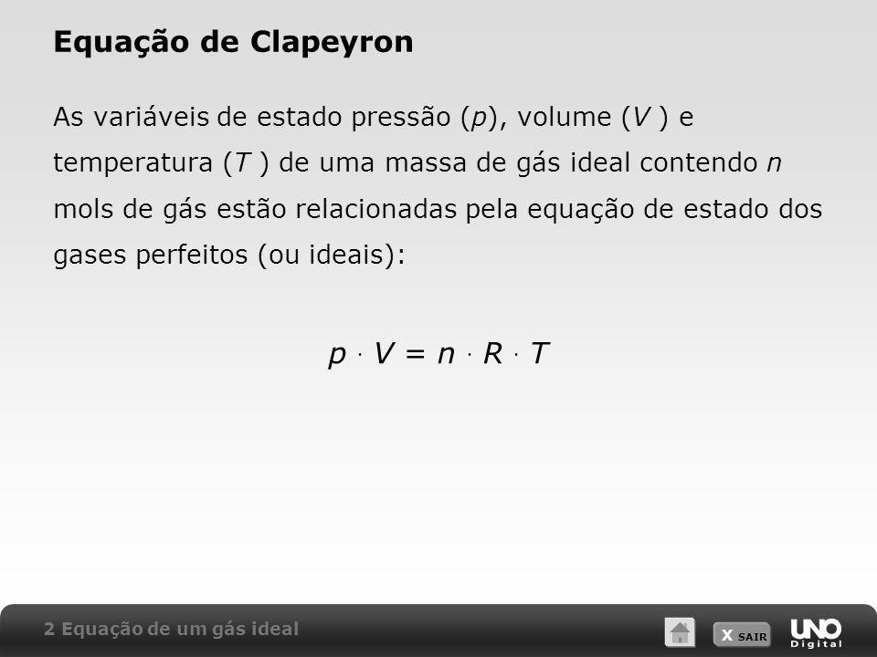 X SAIR Equação de Clapeyron As variáveis de estado pressão (p), volume (V ) e temperatura (T ) de uma massa de gás ideal contendo n mols de gás estão
