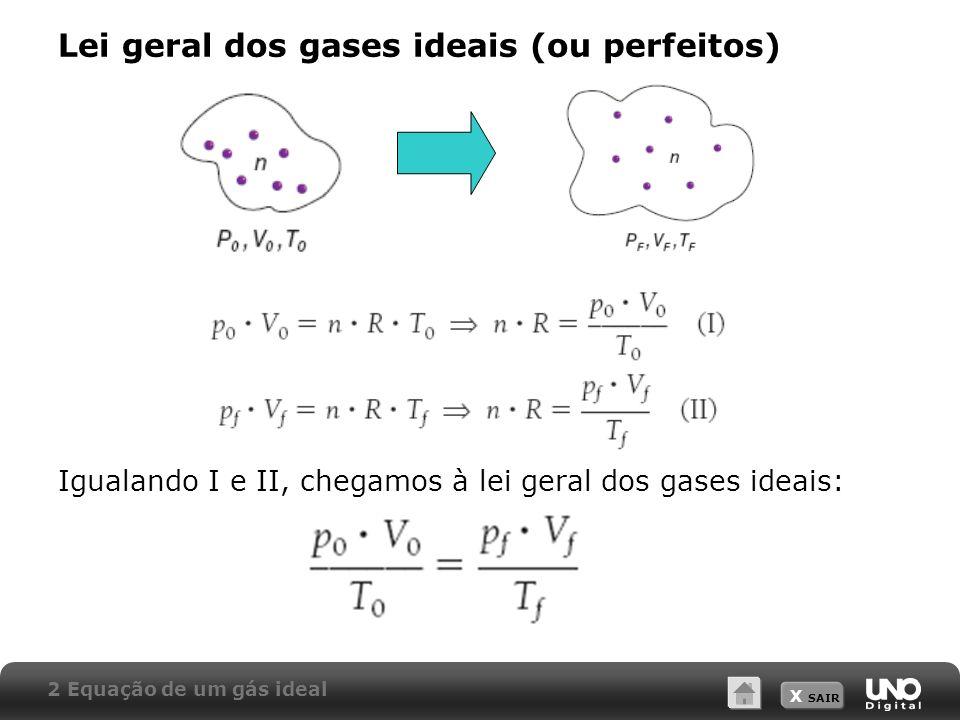 X SAIR Lei geral dos gases ideais (ou perfeitos) Igualando I e II, chegamos à lei geral dos gases ideais: 2 Equação de um gás ideal