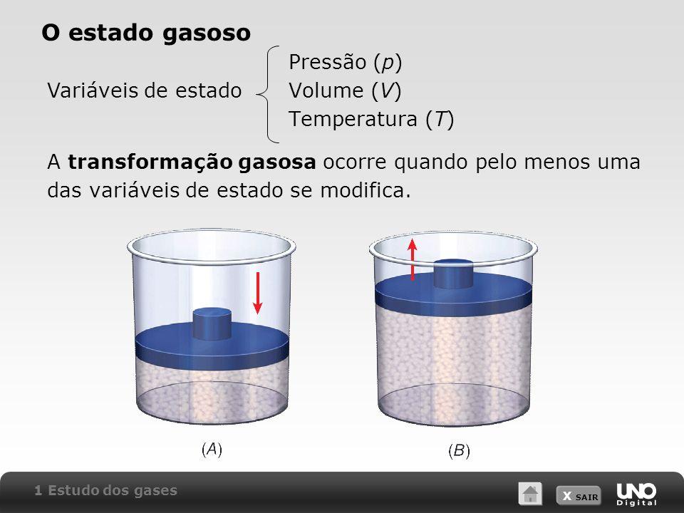 X SAIR O estado gasoso Pressão (p) Volume (V) Temperatura (T) A transformação gasosa ocorre quando pelo menos uma das variáveis de estado se modifica.