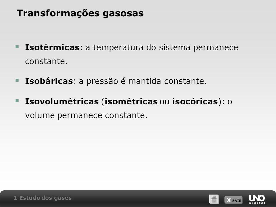 X SAIR Transformações gasosas Isotérmicas: a temperatura do sistema permanece constante. Isobáricas: a pressão é mantida constante. Isovolumétricas (i