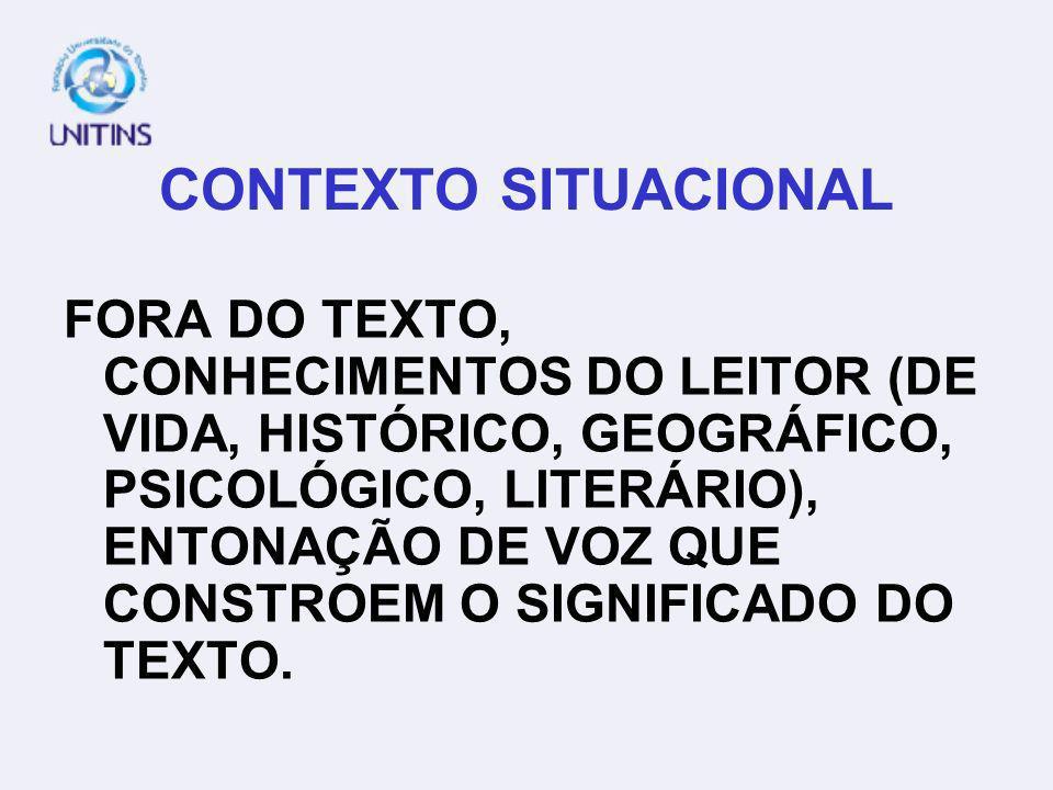 CONTEXTO SITUACIONAL FORA DO TEXTO, CONHECIMENTOS DO LEITOR (DE VIDA, HISTÓRICO, GEOGRÁFICO, PSICOLÓGICO, LITERÁRIO), ENTONAÇÃO DE VOZ QUE CONSTROEM O