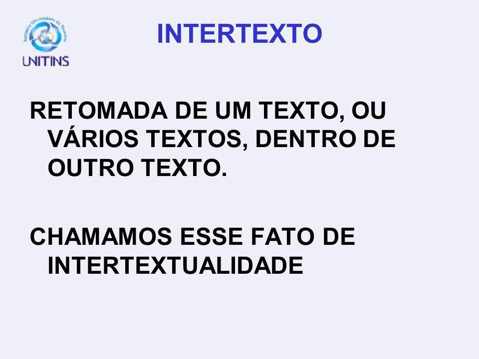 INTERTEXTO RETOMADA DE UM TEXTO, OU VÁRIOS TEXTOS, DENTRO DE OUTRO TEXTO. CHAMAMOS ESSE FATO DE INTERTEXTUALIDADE