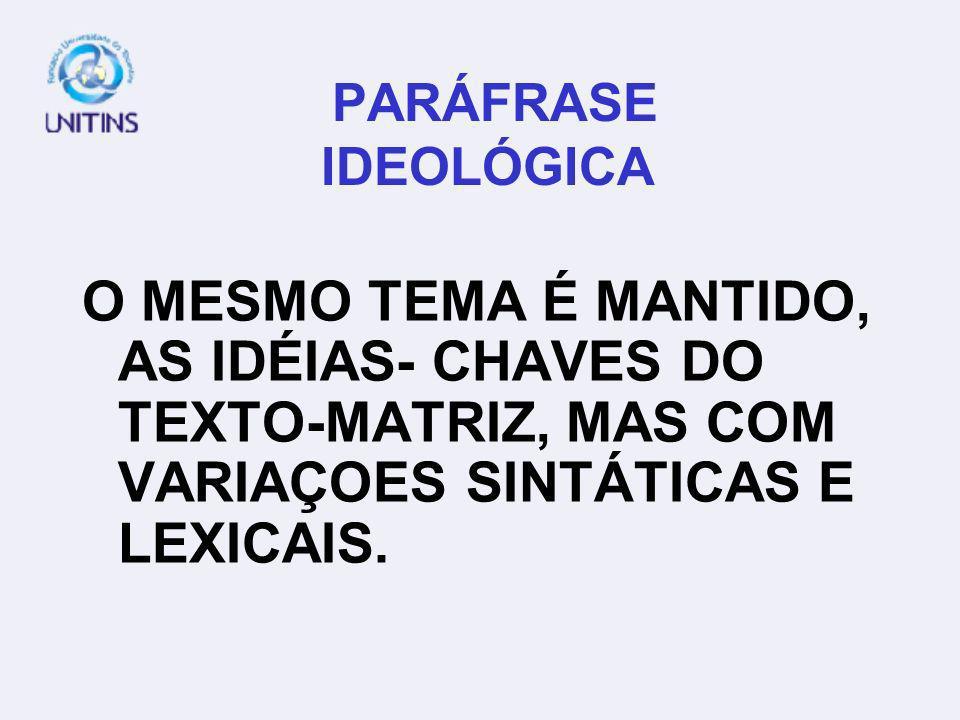 PARÁFRASE IDEOLÓGICA O MESMO TEMA É MANTIDO, AS IDÉIAS- CHAVES DO TEXTO-MATRIZ, MAS COM VARIAÇOES SINTÁTICAS E LEXICAIS.