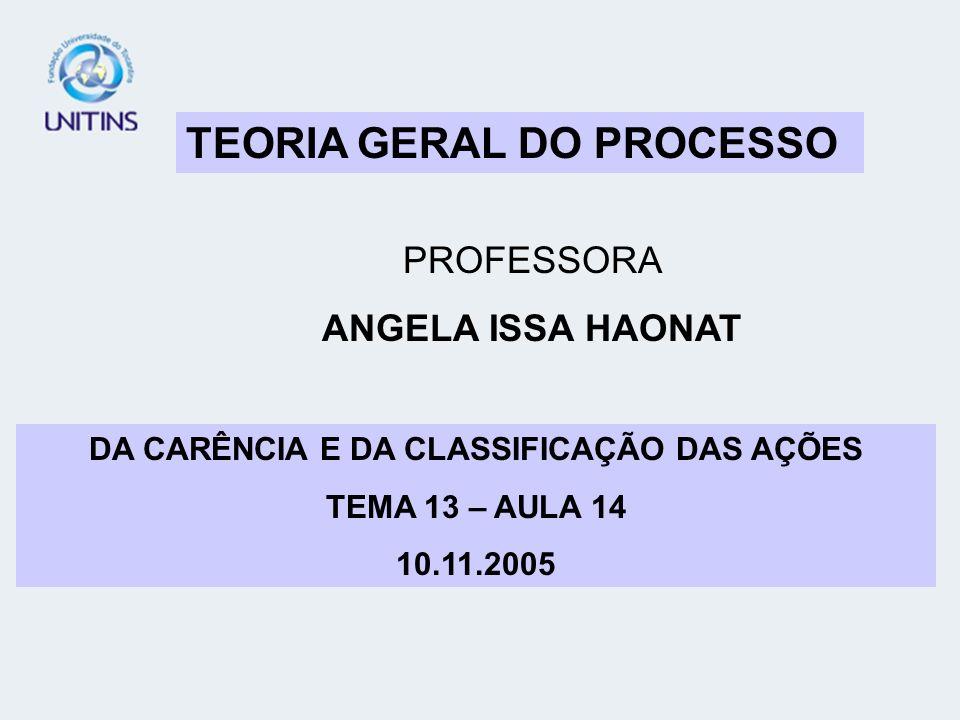 TEORIA GERAL DO PROCESSO PROFESSORA ANGELA ISSA HAONAT DA CARÊNCIA E DA CLASSIFICAÇÃO DAS AÇÕES TEMA 13 – AULA 14 10.11.2005