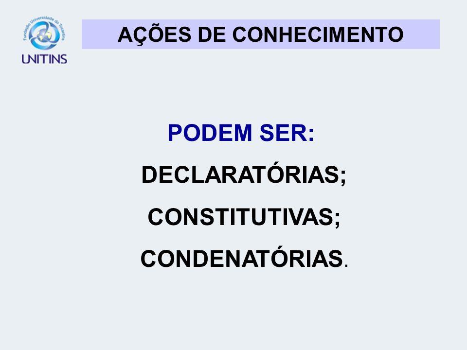 AÇÕES DE CONHECIMENTO PODEM SER: DECLARATÓRIAS; CONSTITUTIVAS; CONDENATÓRIAS.