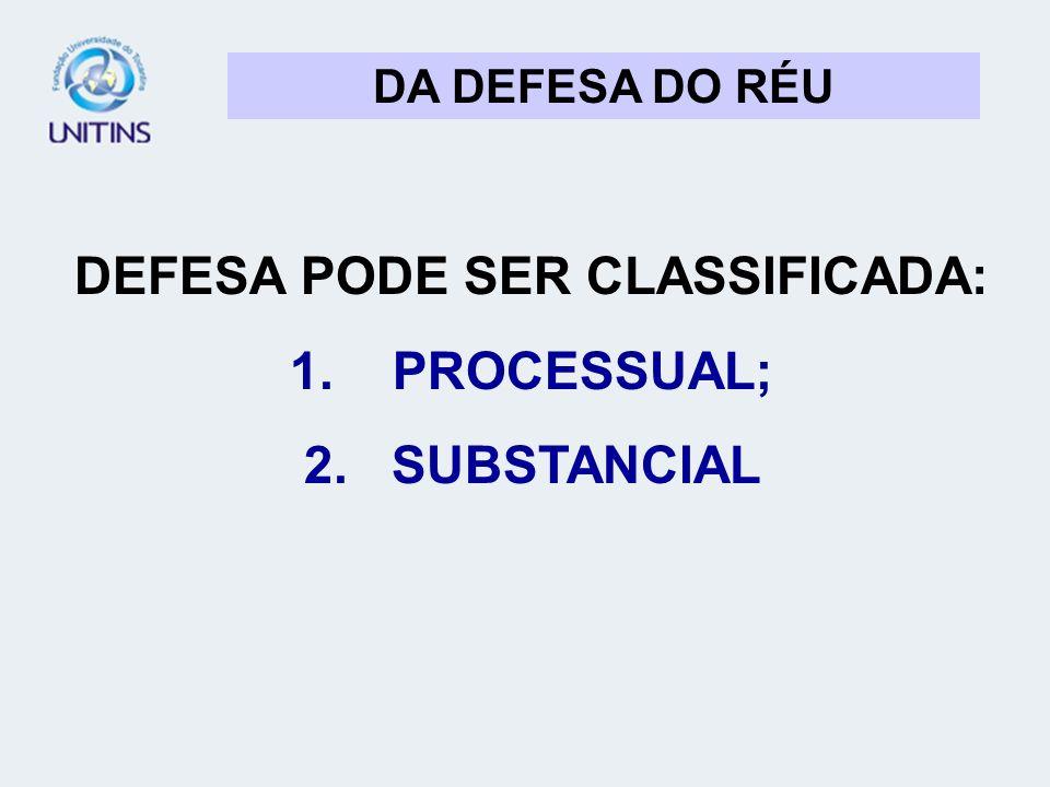 DA DEFESA DO RÉU DEFESA PODE SER CLASSIFICADA: 1. PROCESSUAL; 2. SUBSTANCIAL