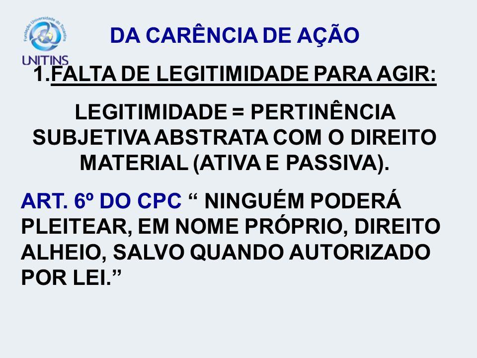 DA CARÊNCIA DE AÇÃO 1.FALTA DE LEGITIMIDADE PARA AGIR: LEGITIMIDADE = PERTINÊNCIA SUBJETIVA ABSTRATA COM O DIREITO MATERIAL (ATIVA E PASSIVA). ART. 6º
