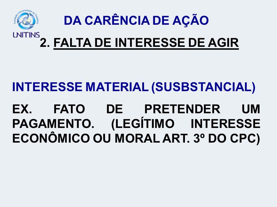 DA CARÊNCIA DE AÇÃO 2. FALTA DE INTERESSE DE AGIR INTERESSE MATERIAL (SUSBSTANCIAL) EX. FATO DE PRETENDER UM PAGAMENTO. (LEGÍTIMO INTERESSE ECONÔMICO