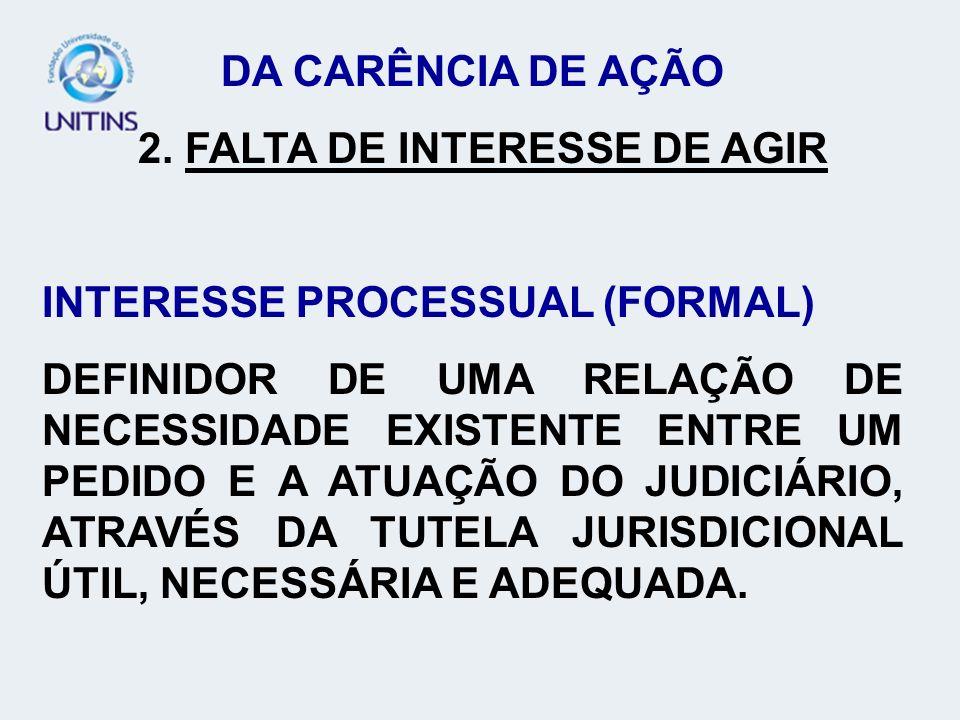 DA CARÊNCIA DE AÇÃO 3.IMPOSSIBILIDADE JURÍDICA DO PEDIDO.