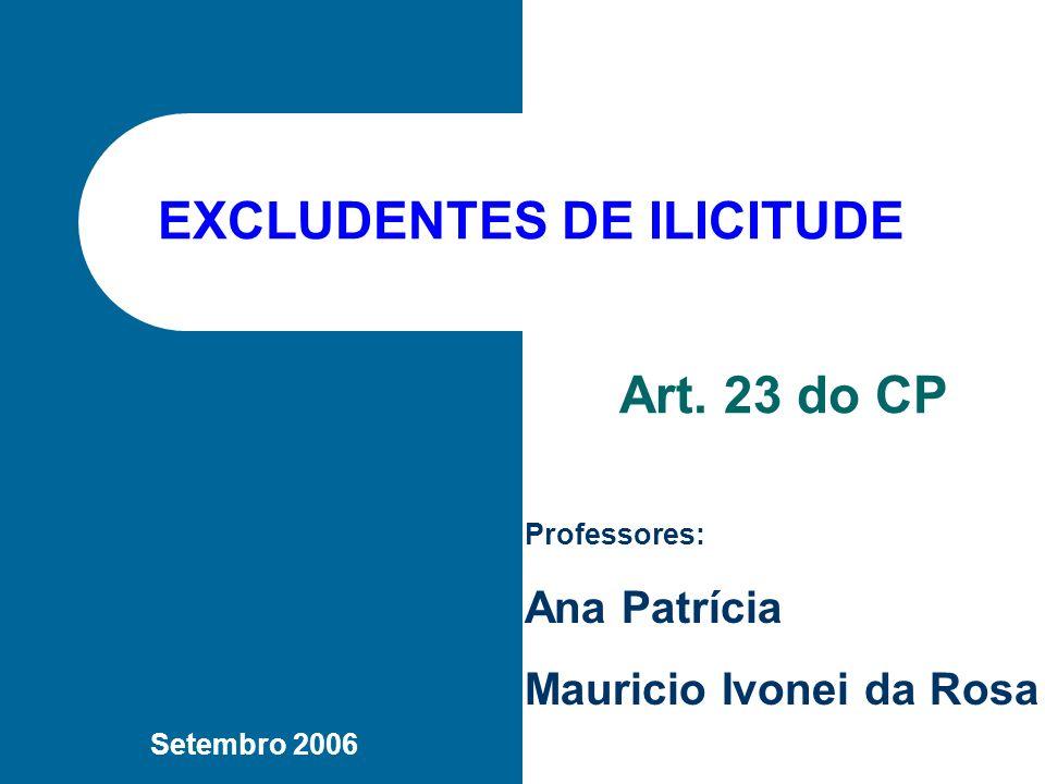 EXCLUDENTES DE ILICITUDE Art.23: NÃO HÁ CRIME QUANDO O AGENTE PRATICA O FATO: I.