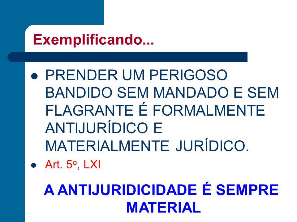 Exemplificando... PRENDER UM PERIGOSO BANDIDO SEM MANDADO E SEM FLAGRANTE É FORMALMENTE ANTIJURÍDICO E MATERIALMENTE JURÍDICO. Art. 5 o, LXI A ANTIJUR