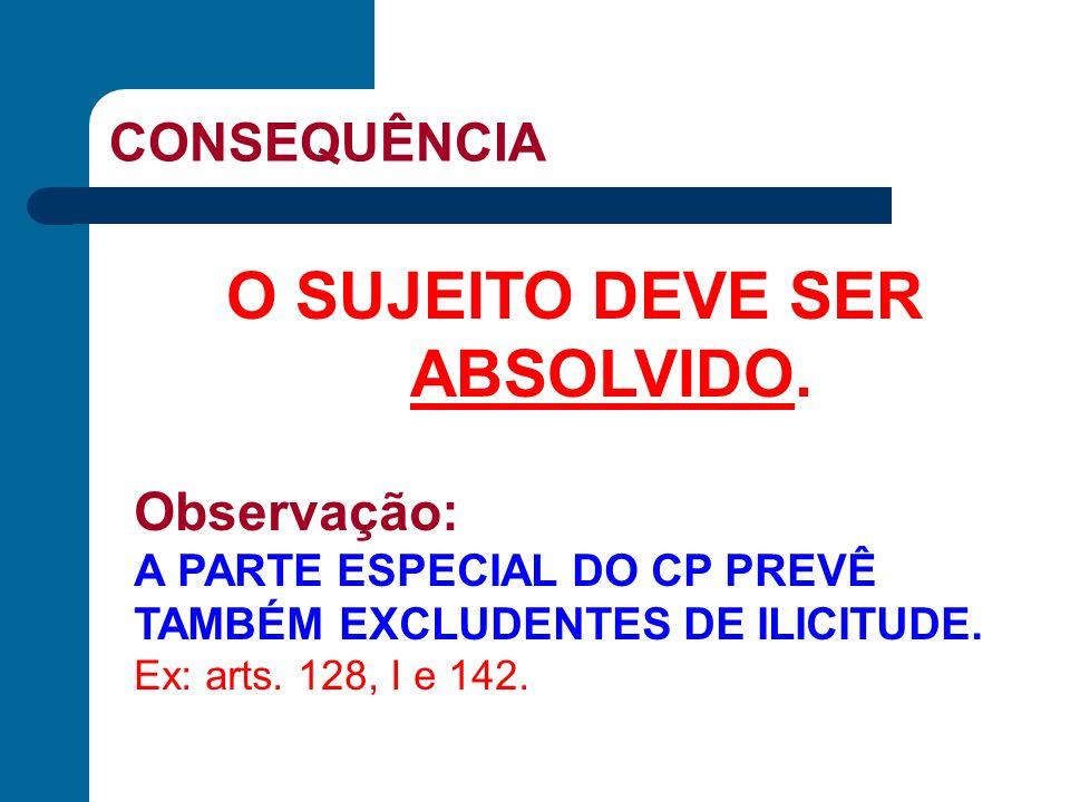 CONSEQUÊNCIA O SUJEITO DEVE SER ABSOLVIDO. Observação: A PARTE ESPECIAL DO CP PREVÊ TAMBÉM EXCLUDENTES DE ILICITUDE. Ex: arts. 128, I e 142.