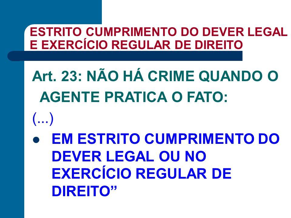 ESTRITO CUMPRIMENTO DO DEVER LEGAL E EXERCÍCIO REGULAR DE DIREITO Art. 23: NÃO HÁ CRIME QUANDO O AGENTE PRATICA O FATO: (...) EM ESTRITO CUMPRIMENTO D