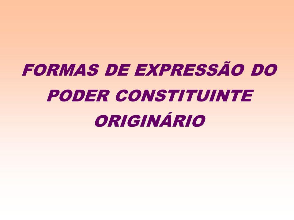 FORMAS DE EXPRESSÃO DO PODER CONSTITUINTE ORIGINÁRIO