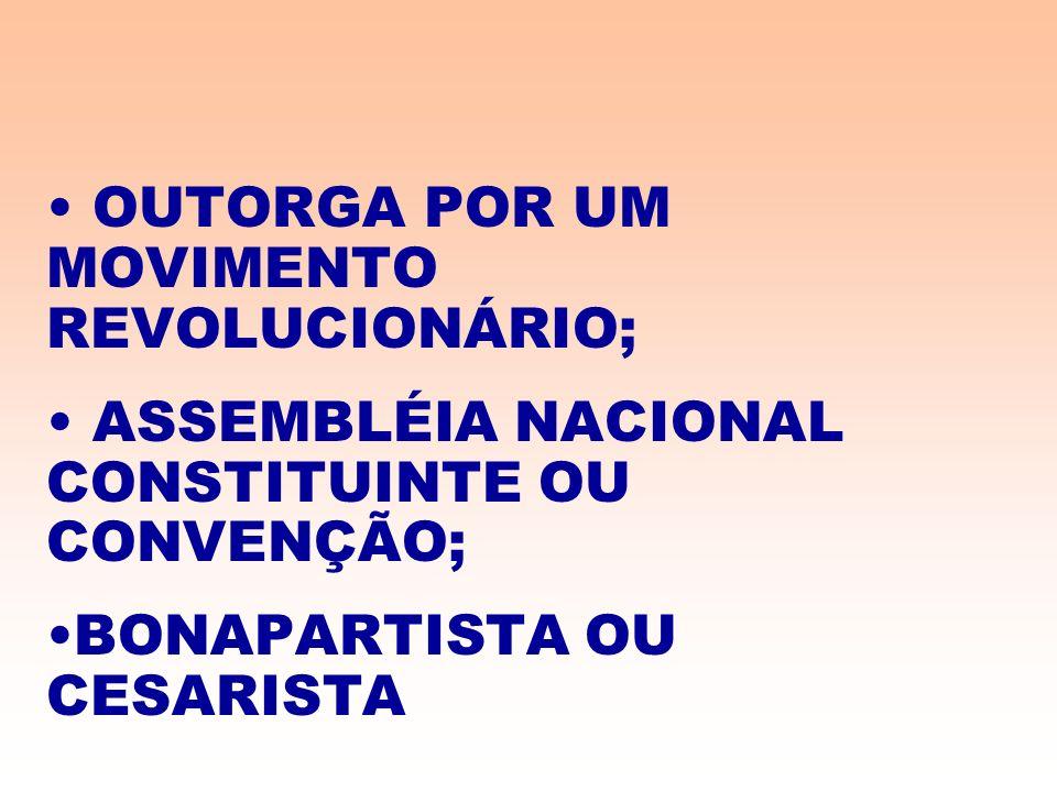 OUTORGA POR UM MOVIMENTO REVOLUCIONÁRIO; ASSEMBLÉIA NACIONAL CONSTITUINTE OU CONVENÇÃO; BONAPARTISTA OU CESARISTA