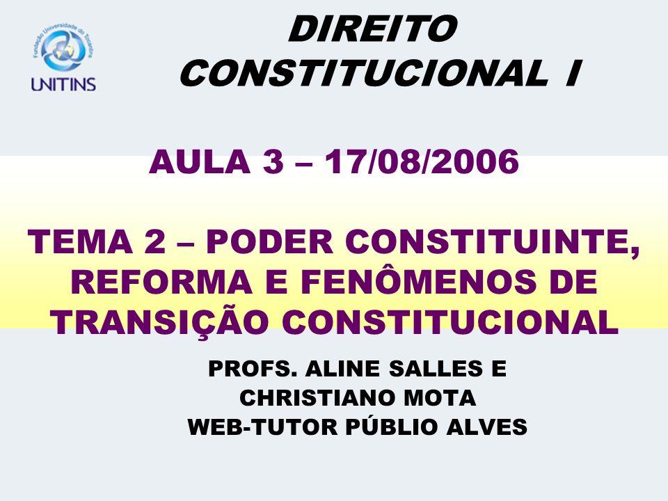 CRÍTICA DO PROFESSOR A DISTINÇÃO DE PINTO FERREIRA, ALÉM DE NÃO SER CONSENSUAL – JÁ QUE, NA VERDADE, ENCONTRA INÚMERAS RESISTÊNCIAS –, ESBARRA EM PROBLEMAS DE INADEQUAÇÃO COM A TERMINOLOGIA ELEITA PELA CONSTITUIÇÃO (ARTIGO TERCEIRO DO ADCT)