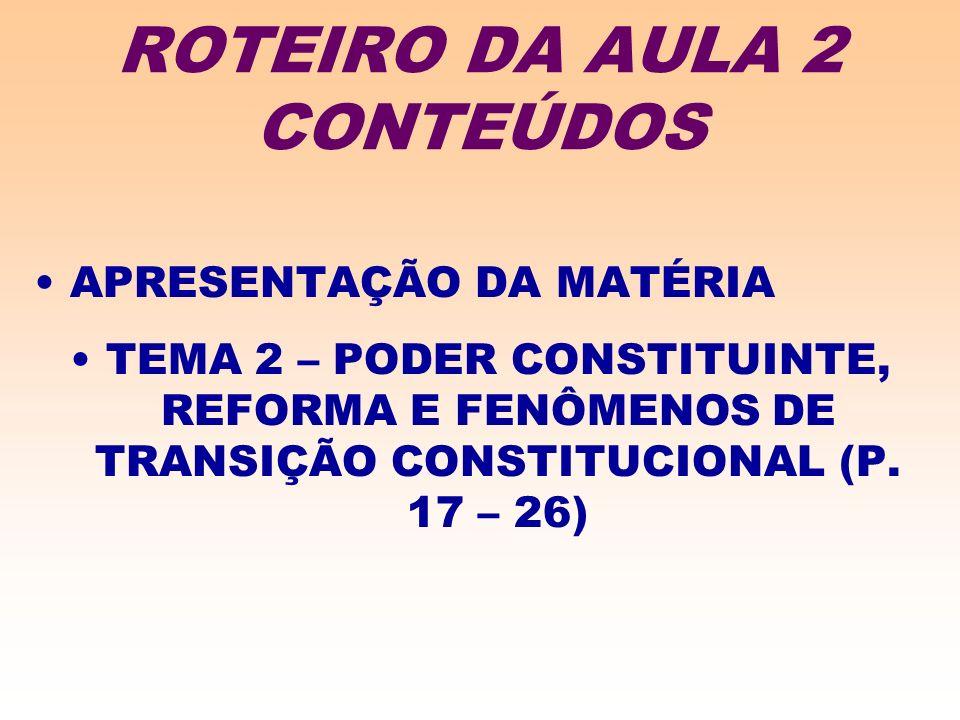 ROTEIRO DA AULA 2 CONTEÚDOS APRESENTAÇÃO DA MATÉRIA TEMA 2 – PODER CONSTITUINTE, REFORMA E FENÔMENOS DE TRANSIÇÃO CONSTITUCIONAL (P.
