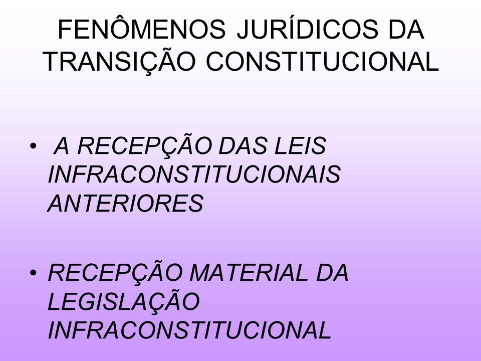 FENÔMENOS JURÍDICOS DA TRANSIÇÃO CONSTITUCIONAL A RECEPÇÃO DAS LEIS INFRACONSTITUCIONAIS ANTERIORES RECEPÇÃO MATERIAL DA LEGISLAÇÃO INFRACONSTITUCIONAL