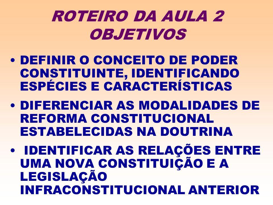 ROTEIRO DA AULA 2 OBJETIVOS DEFINIR O CONCEITO DE PODER CONSTITUINTE, IDENTIFICANDO ESPÉCIES E CARACTERÍSTICAS DIFERENCIAR AS MODALIDADES DE REFORMA CONSTITUCIONAL ESTABELECIDAS NA DOUTRINA IDENTIFICAR AS RELAÇÕES ENTRE UMA NOVA CONSTITUIÇÃO E A LEGISLAÇÃO INFRACONSTITUCIONAL ANTERIOR