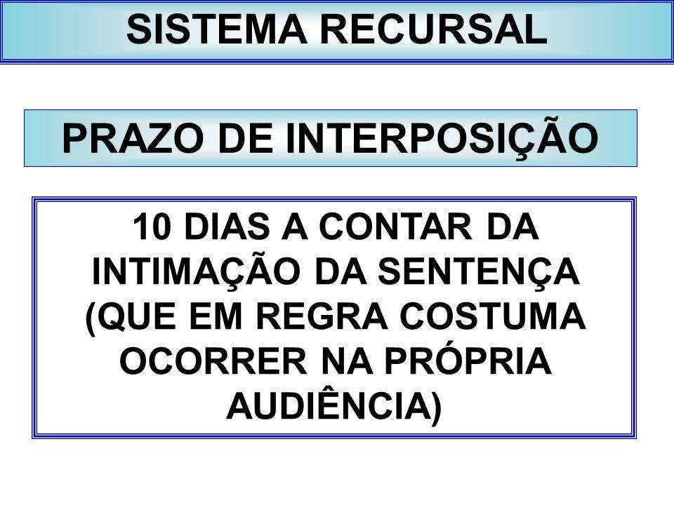 SISTEMA RECURSAL PRAZO DE INTERPOSIÇÃO 10 DIAS A CONTAR DA INTIMAÇÃO DA SENTENÇA (QUE EM REGRA COSTUMA OCORRER NA PRÓPRIA AUDIÊNCIA)