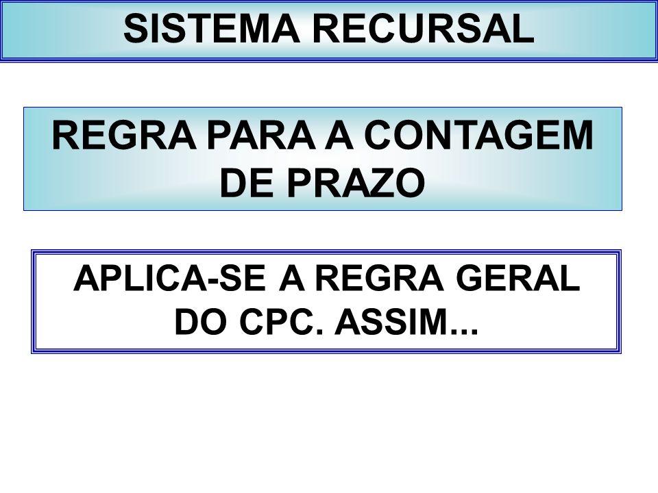 SISTEMA RECURSAL REGRA PARA A CONTAGEM DE PRAZO APLICA-SE A REGRA GERAL DO CPC. ASSIM...