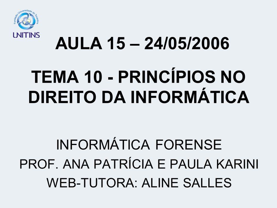 TEMA 10 - PRINCÍPIOS NO DIREITO DA INFORMÁTICA INFORMÁTICA FORENSE PROF. ANA PATRÍCIA E PAULA KARINI WEB-TUTORA: ALINE SALLES AULA 15 – 24/05/2006