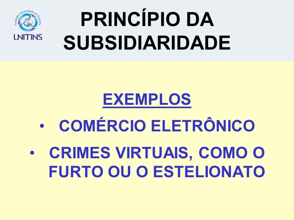 PRINCÍPIO DA SUBSIDIARIDADE EXEMPLOS COMÉRCIO ELETRÔNICO CRIMES VIRTUAIS, COMO O FURTO OU O ESTELIONATO