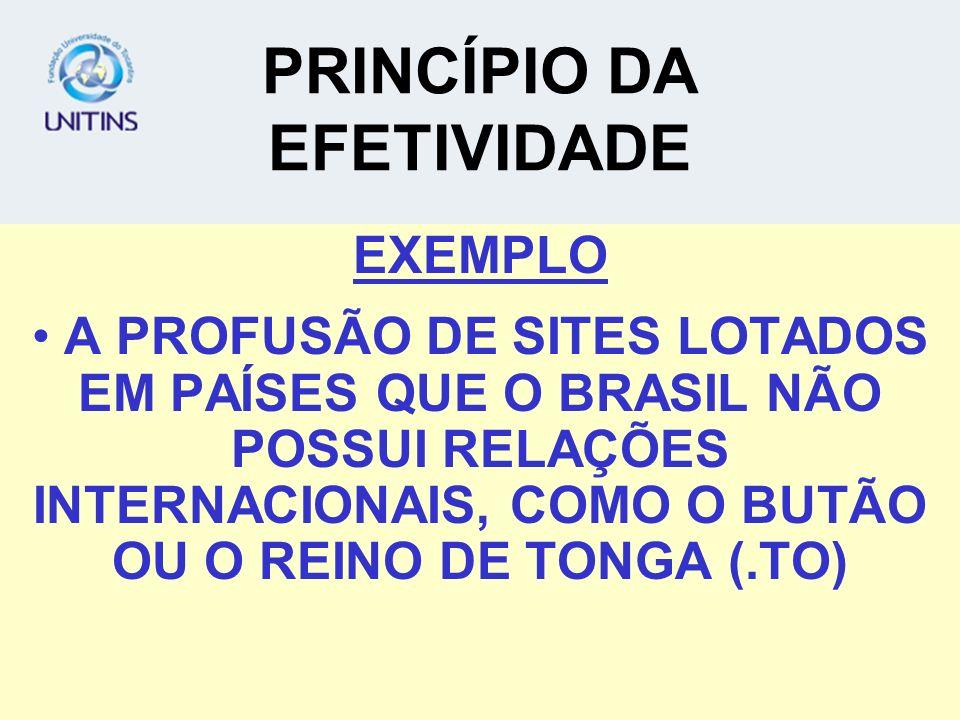PRINCÍPIO DA EFETIVIDADE EXEMPLO A PROFUSÃO DE SITES LOTADOS EM PAÍSES QUE O BRASIL NÃO POSSUI RELAÇÕES INTERNACIONAIS, COMO O BUTÃO OU O REINO DE TONGA (.TO)