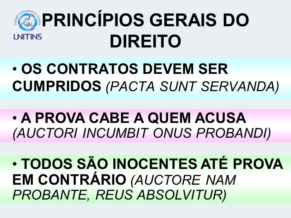 PRINCÍPIOS GERAIS DO DIREITO OS CONTRATOS DEVEM SER CUMPRIDOS (PACTA SUNT SERVANDA) A PROVA CABE A QUEM ACUSA (AUCTORI INCUMBIT ONUS PROBANDI) TODOS S
