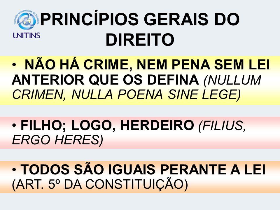 PRINCÍPIOS GERAIS DO DIREITO NÃO HÁ CRIME, NEM PENA SEM LEI ANTERIOR QUE OS DEFINA (NULLUM CRIMEN, NULLA POENA SINE LEGE) FILHO; LOGO, HERDEIRO (FILIU