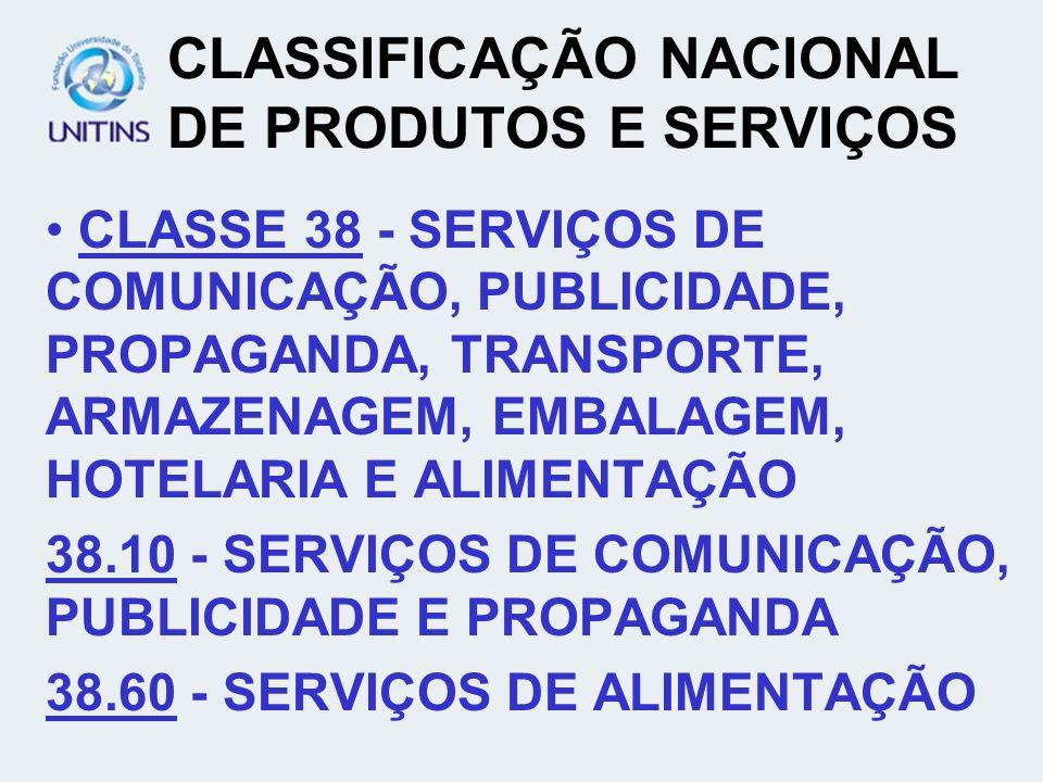 CLASSIFICAÇÃO NACIONAL DE PRODUTOS E SERVIÇOS CLASSE 38 - SERVIÇOS DE COMUNICAÇÃO, PUBLICIDADE, PROPAGANDA, TRANSPORTE, ARMAZENAGEM, EMBALAGEM, HOTELA