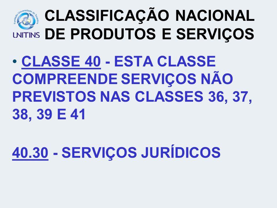 CLASSIFICAÇÃO NACIONAL DE PRODUTOS E SERVIÇOS CLASSE 40 - ESTA CLASSE COMPREENDE SERVIÇOS NÃO PREVISTOS NAS CLASSES 36, 37, 38, 39 E 41 40.30 - SERVIÇ
