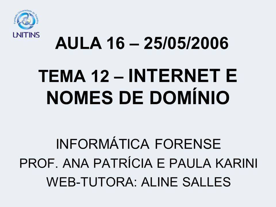 TEMA 12 – INTERNET E NOMES DE DOMÍNIO INFORMÁTICA FORENSE PROF. ANA PATRÍCIA E PAULA KARINI WEB-TUTORA: ALINE SALLES AULA 16 – 25/05/2006