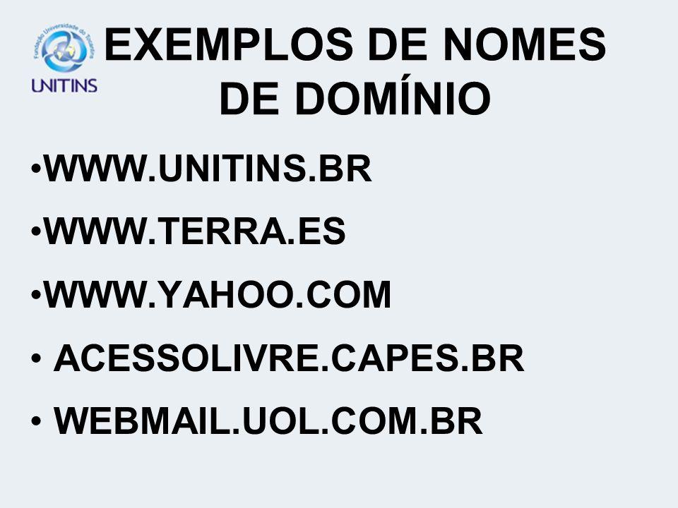 EXEMPLOS DE NOMES DE DOMÍNIO WWW.UNITINS.BR WWW.TERRA.ES WWW.YAHOO.COM ACESSOLIVRE.CAPES.BR WEBMAIL.UOL.COM.BR
