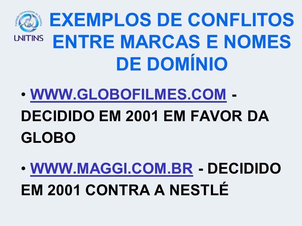 EXEMPLOS DE CONFLITOS ENTRE MARCAS E NOMES DE DOMÍNIO WWW.GLOBOFILMES.COM - DECIDIDO EM 2001 EM FAVOR DA GLOBO WWW.MAGGI.COM.BR - DECIDIDO EM 2001 CON