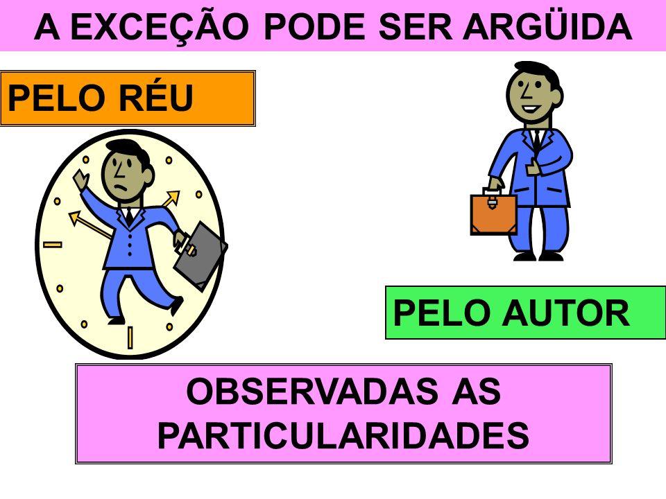 A EXCEÇÃO PODE SER ARGÜIDA PELO RÉU PELO AUTOR OBSERVADAS AS PARTICULARIDADES