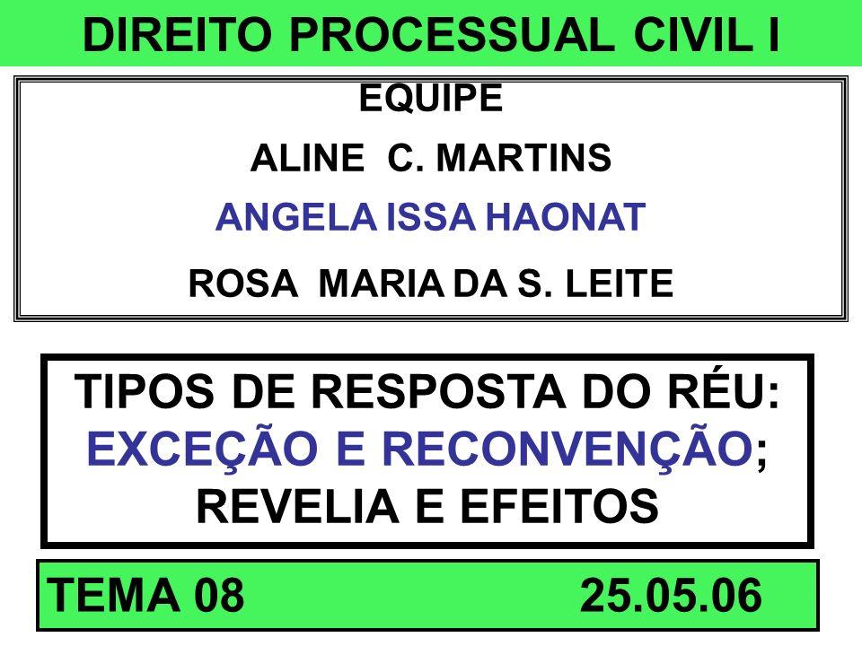 DIREITO PROCESSUAL CIVIL I EQUIPE ALINE C. MARTINS ANGELA ISSA HAONAT ROSA MARIA DA S. LEITE TIPOS DE RESPOSTA DO RÉU: EXCEÇÃO E RECONVENÇÃO; REVELIA