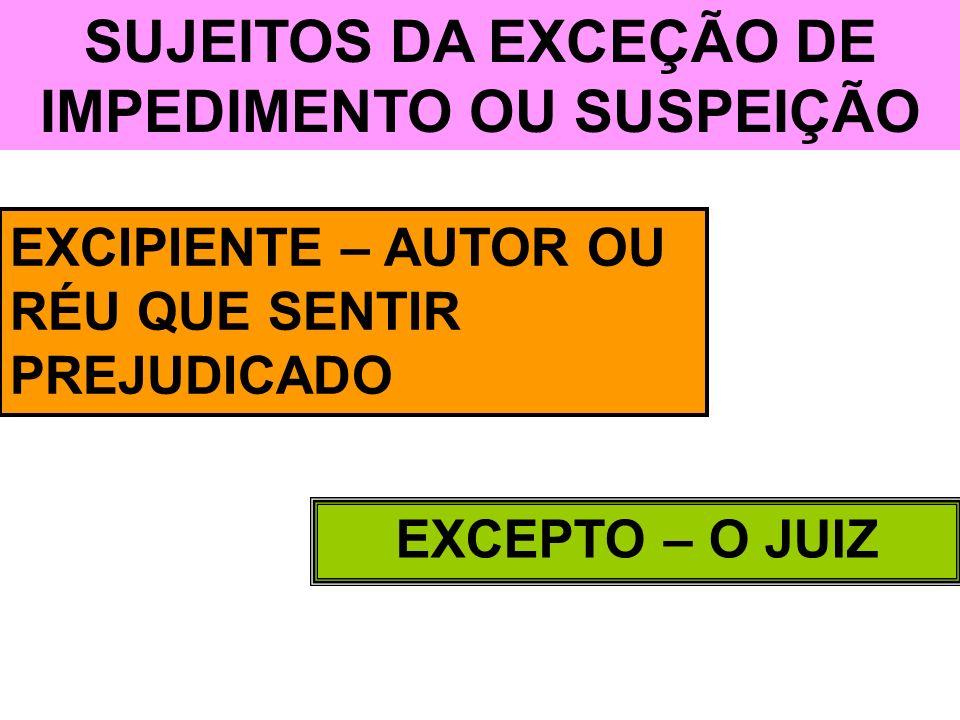 SUJEITOS DA EXCEÇÃO DE IMPEDIMENTO OU SUSPEIÇÃO EXCIPIENTE – AUTOR OU RÉU QUE SENTIR PREJUDICADO EXCEPTO – O JUIZ