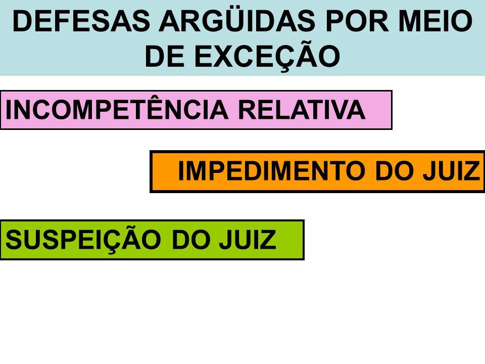 DEFESAS ARGÜIDAS POR MEIO DE EXCEÇÃO INCOMPETÊNCIA RELATIVA IMPEDIMENTO DO JUIZ SUSPEIÇÃO DO JUIZ