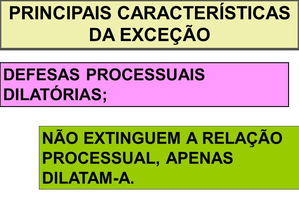 PRINCIPAIS CARACTERÍSTICAS DA EXCEÇÃO DEFESAS PROCESSUAIS DILATÓRIAS; NÃO EXTINGUEM A RELAÇÃO PROCESSUAL, APENAS DILATAM-A.